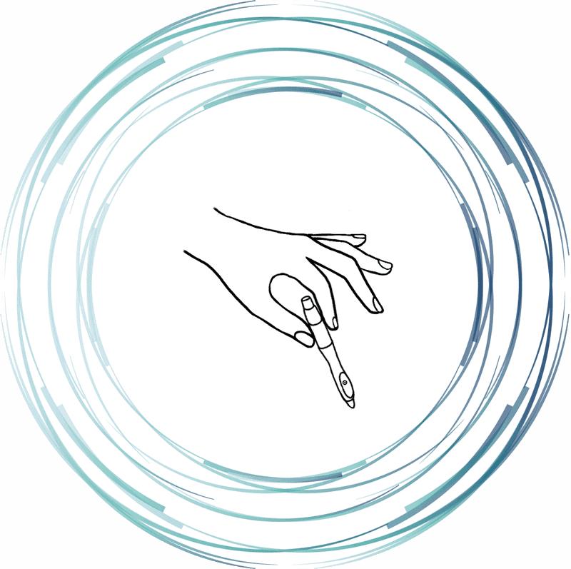 Image d'une main tenant un LASER servant à l'acupuncture sans aiguille